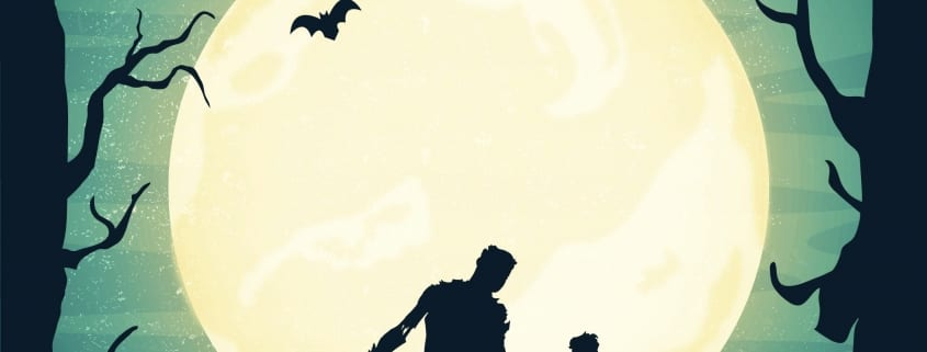 Halloween Time To Celebrate Our Shadow - Vector Illustration of Zombies, Batts and Hunted Scene.