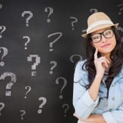 Mental Health Healthy Thinking - Women Thinking With Question Mark Background Pattern